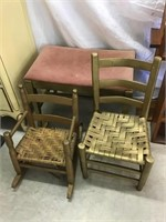 Child's Rocker and chair, stool 24 x 15 x 18