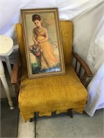 Upholstered rocker and picture