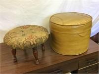 2 foot stools one rug hooking