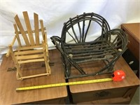 Bentwood bench and wooden chair, doll