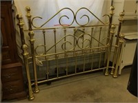 Brass headboard, footboard and rails, 58 inches