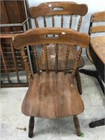 Two wooden kitchen chairs, wear