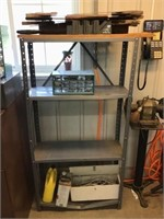 Metal shelf and contents of saws, organizer,