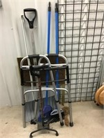 Cane, Walker, brooms, snow shovel, TV tray