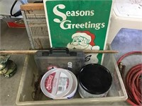 Seasons greetings wood sign, window screens,