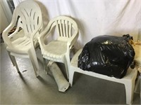Plastic stacking lawn chairs, bouy, pillows,