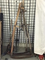 Scythe, hockey stick, brush cutter, threader,