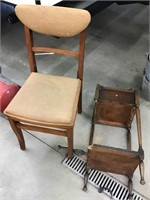 Folding chair and smoking stand that needs repair