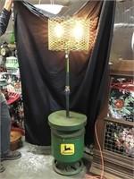 Re-purposed Floor Lamp With John Deere Seed Box