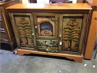 Folkart Cabinet, Painted, 40 X 12 X 30