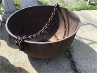 Cast Iron Kettle, 27 X 15, Hole In Bottom