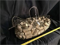 Decorative Metal Bird Carrier With Wine Corks