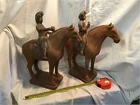 Terra-cotta Horse Statues, 16 Inches High