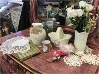 Doilies, Towel, Porcelain Vase, Shoes, Frame,