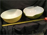 Two Pyrex Bowls, Green With Some Wear