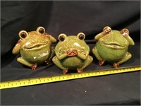 Three Ceramic Frogs