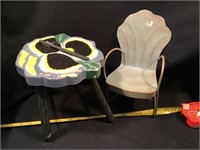 Small Decorative Stool And Small Metal Lawnchair