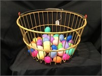 Egg Basket With Plastic Easter Eggs