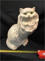Chalk Ware Cat Bank, 14 Inch, Some Chipping