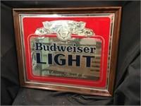 Budweiser Light Framed Mirror Advertising 22 X 18