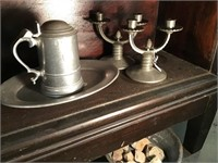 Pewter Items Including Platter Coffee Pot And