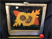 Sunflowers Painted On A Window, 23 X 20