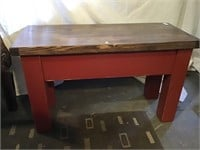 Painted Bench With Stained Top, 32 X 13 1/2 X 19