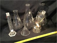 Laboratory Bottles And Funnel