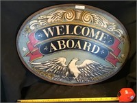 Welcome Aboard Wooden Sign, 23 X 17