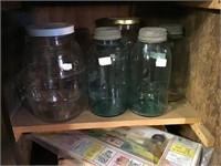 Jars Including Two Green Mason Jars Some With The