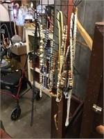 Hall tree, coat rack, costume jewelry