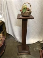 Wooden plant stand, basket, plastic fruit