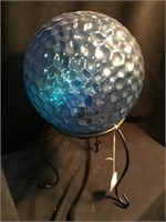 Gazing ball on stand, 15 inches tall