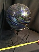 Gazing ball on stand 14 inches tall