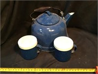 Enamelware teapot and Salt and pepper Shakers