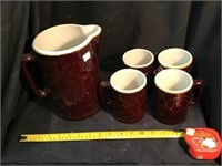 Crooksville Pitcher and four mugs