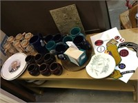 Group of items including Steins, coffee mugs,