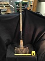 Double bit axe, rusted, broken handle