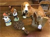 Plaster dog, eagle, wooden trivet, figurines,