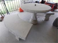 Concrete Patio Table & Benches
