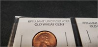 Lot of 2 Brilliant uncirculated old wheat cent