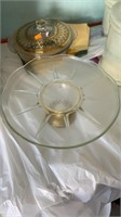 Cake plate and glass bowl