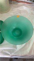 Green bowl and 2 candle holders