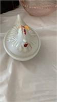 1 white Hen on nest