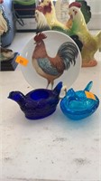 Small chicken plate, hen on nest, candle chicken