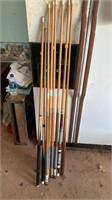 Wooden pool sticks