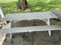 White 8ft long picnic table  Sits unlevel