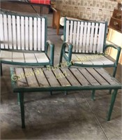 Cast Iron framed  Outside Chairs and Table