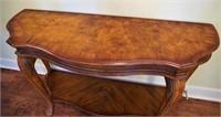 Burlwood console table