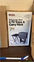 PDG 5 piece set, black 4 TV trays & carry rack